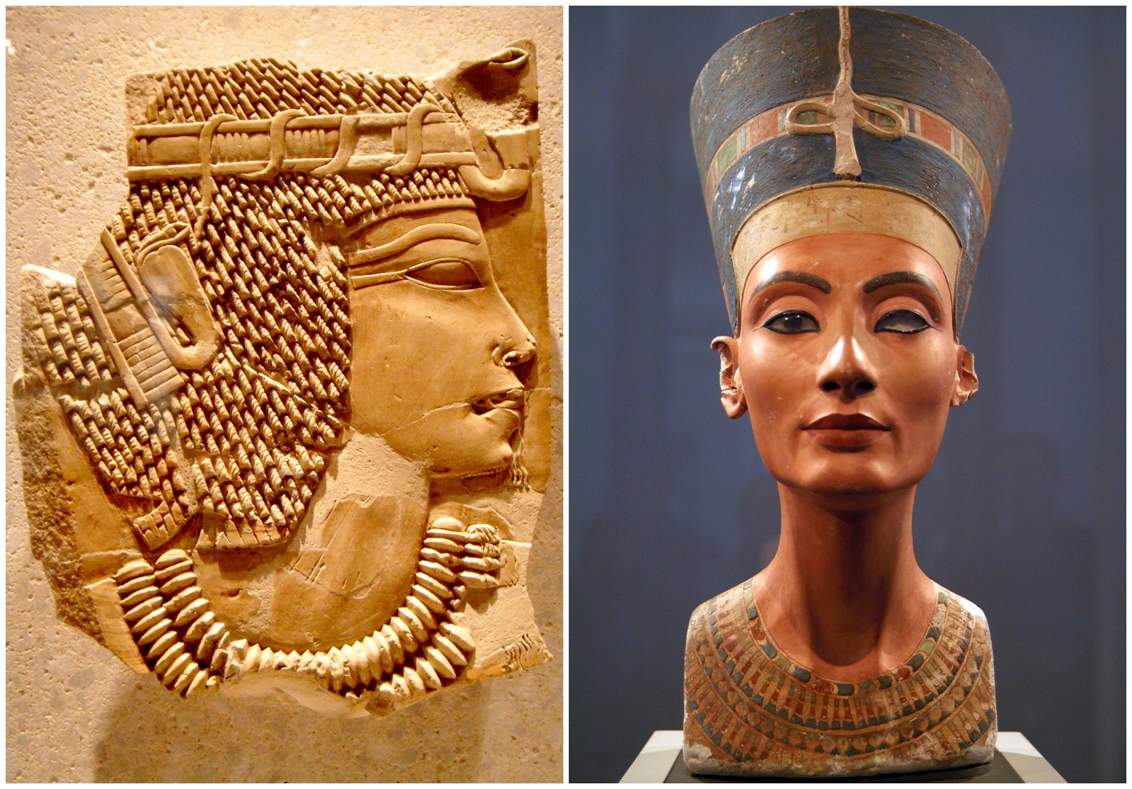 Amenhotep III (left) Credit Sa.hprw and Nefertiti (right). Credit Giovanni