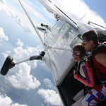 Tandem Skydiver Melissa Exiting With Kenny B