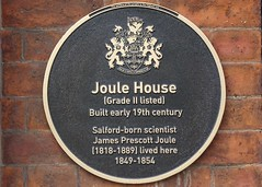 Photo of James Prescott Joule black plaque