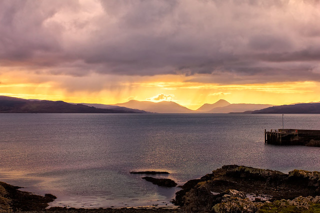 Cuillin Mountain Sunset from Gairloch Harbour