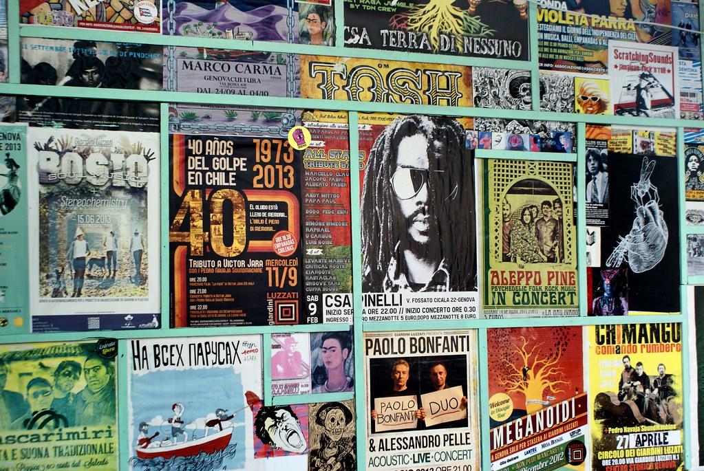 Affiches de concerts à Giardini Luzzati à Gênes en Italie.