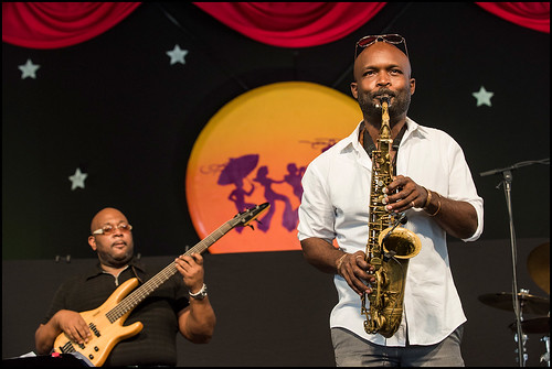 Khari Allen Lee and the New Creative Collective at Jazz Fest day 7 on May 7, 2017. Photo by Ryan Hodgson-Rigsbee www.rhrphoto.com