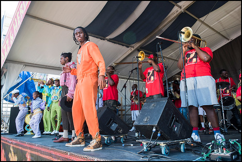 TBC Brass Band with Ole & Nu Style Fellas SA & PC members during Jazz Fest day 7 on May 7, 2017. Photo by Ryan Hodgson-Rigsbee www.rhrphoto.com