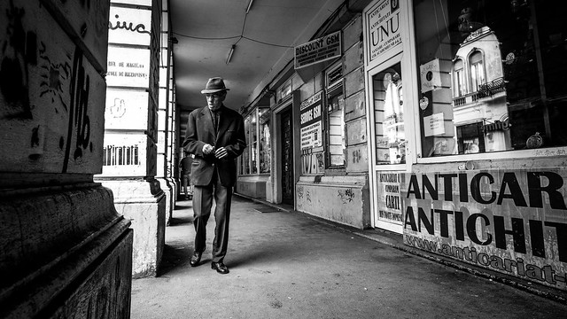 The classic guy - Bucharest, Romania - Black and white street photography