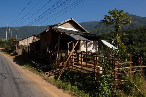 venkov dùm krajina silnice severníthajskoalaos20132014 laos dům