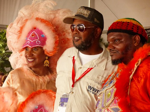 Black Foot Hunters Big Queen Connie Dorsey, WWOZ's Action Jackson, and Wild Man Quintrell in the 'OZ Hospitality Tent at Jazz Fest 2017 Day 1 April 28. Photo by Olivia Greene photo)