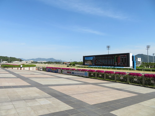 釜山慶南競馬場のスタンド前の空間