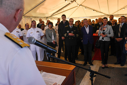 Tue, 05/16/2017 - 14:32 - 170516-N-AX546-361 VARNA, Bulgaria (May 16, 2017) - Vice Adm. Christopher W. Grady, commander, U.S. 6th Fleet, addresses military and civilian visitors during a reception aboard the Arleigh Burke-class guided-missile destroyer USS Oscar Austin, May 16, 2017. Oscar Austin is on a routine deployment supporting U.S. national security interests in Europe, and increasing theater security cooperation and forward naval presence in the U.S. 6th Fleet area of operations. (U.S. Navy photo by Mass Communication Specialist 1st Class Sean Spratt / Released)