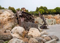 Israeli tank in the war museum operated by Hezbollah called the tourist landmark of the resistance or museum for resistance tourism, Nabatiyeh Governorate, Mleeta, Lebanon