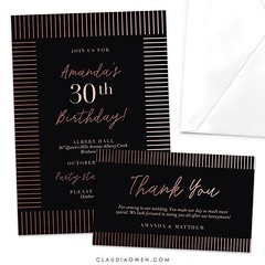 Elegant party invitation with a timeless appeal. Set on a black background with foil lines that will dazzle your guests #partyinvitations #eventplanning #birthdayparty