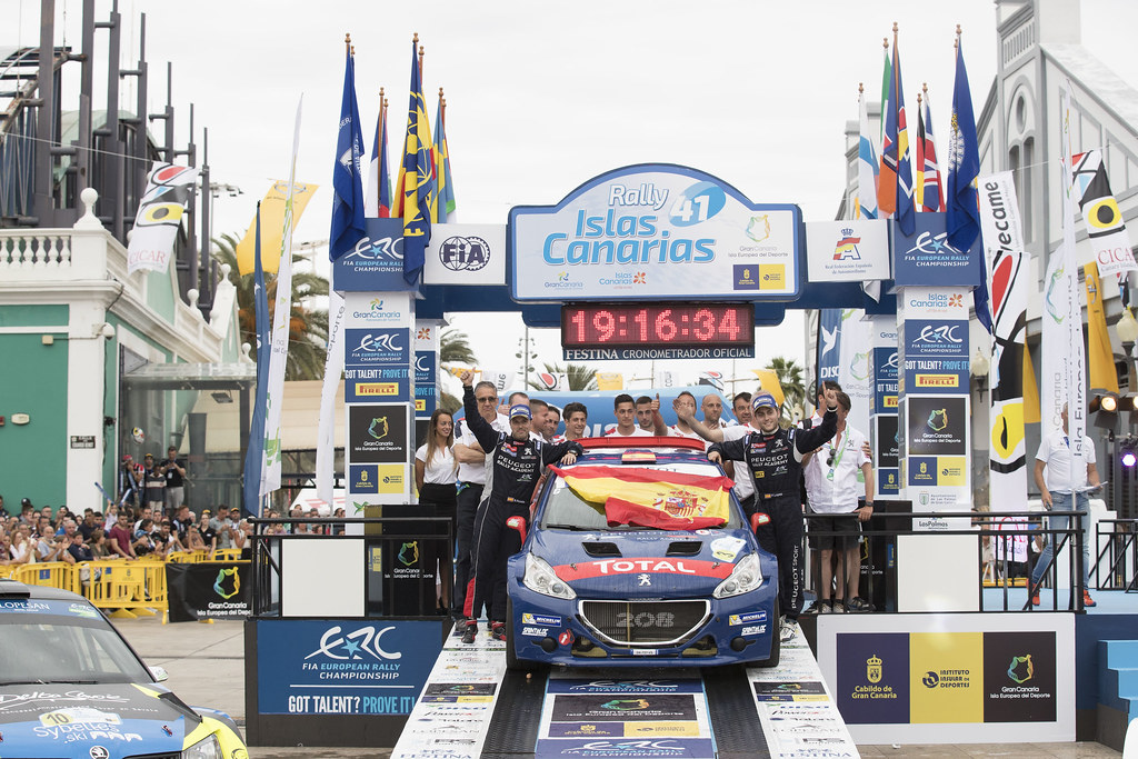 LOPEZ Jose Maria (ESP) HERNANDEZ Borja Peugeot 208 T16 ,ambiance portrait podium during the 2017 European Rally Championship ERC Rally Islas Canarias, El Corte Inglés,  from May 4 to 6, at Las Palmas, Spain - Photo Gregory Lenormand / DPPI