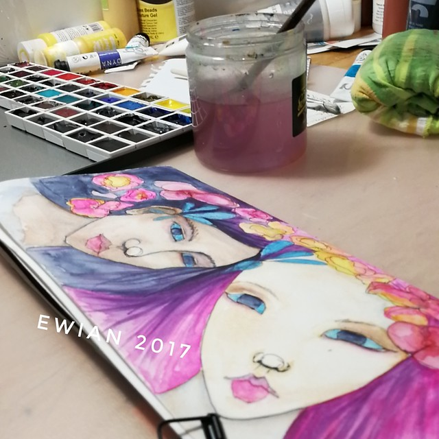 Glimpse of my #artstudio #worktable #artjournal entry with #watercolour  #watercolour #girls #girl