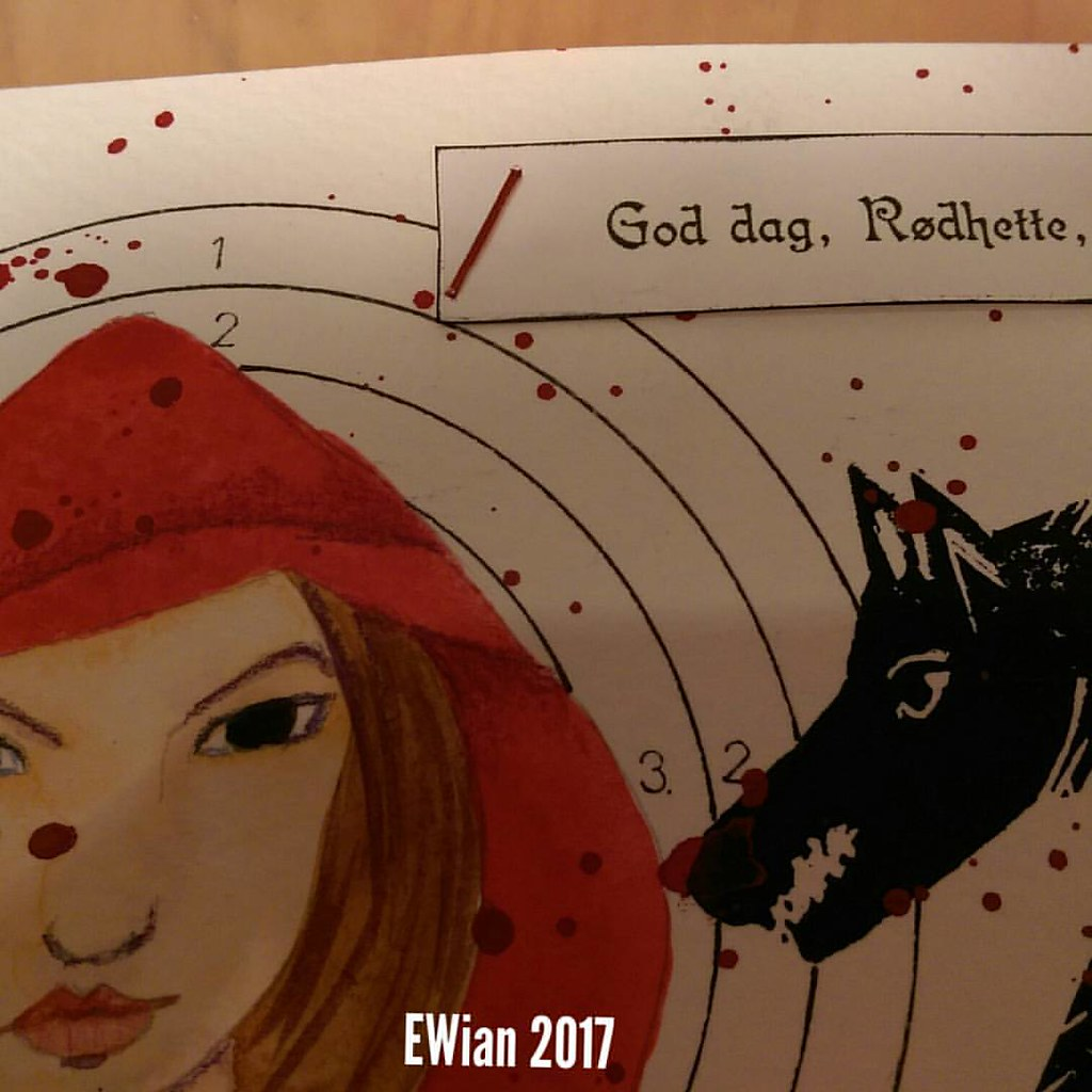 A peak of the #postcard for the #diypostcardswap #fairytail #redridinghood #wolf