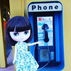 Bailey: MOMMY!! What is this?!? Me: This is a pay phone, before the smart phones existed we used this.  Bailey: Ohhhhhhhh #blytheinstagram #middieblythe #middieblythephoto #lydiagreen