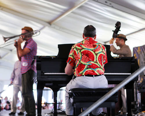 Charlie Halloran performs with Tim Laughlin in the Economy Hall Tent - Day 5 Jazz Fest - May 5, 2017. Photo by Bill Sasser.