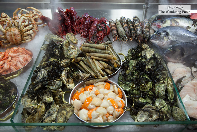 Fresh seafood of the day on display