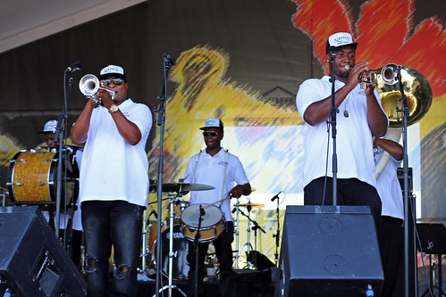 Kinfolk Brass Band at the Jazz & Heritage Stage on Day 6 of Jazz Fest - May 6, 2017. Photo by Bill Sasser.