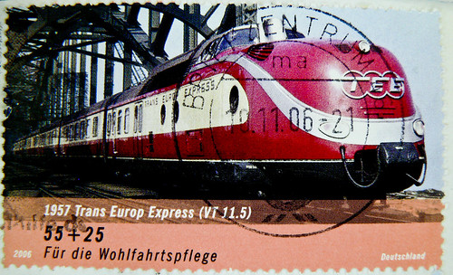 great stamp Germany € 55c+25c TEE Trans Europ Express (1957-1987, VT 11.5; train, Eisenbahn, Zug, Triebwagen, Lok, ferrocarril,  鉄道, demiryolu, 铁路, ferrovia, vasút) timbres Allemagne  우표 독일 유럽 sellos Alemania selos Alemanha γραμματόσημα Γερμανία frimerker