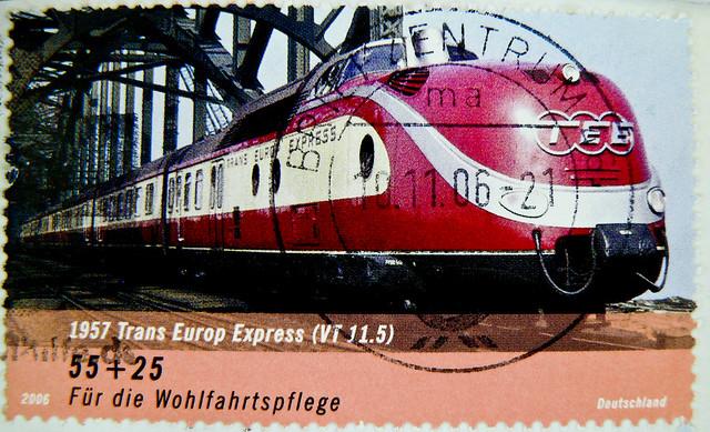 great stamp Germany € 55c+25c TEE Trans Europ Express (1957-1987, VT 11.5; train, Eisenbahn, Zug, Triebwagen, Lok, ferrocarril,  鉄道, demiryolu, 铁路, ferrovia, vasút) timbres Allemagne  우표 독일 유럽 sellos Alemania selos Alemanha γραμματόσημα Γερμανία frimerker