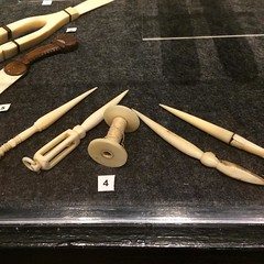 19th century scrimshaw tatting needles at Provincetown Museum. #crafty, #capecodgetaway, #needtorelearn