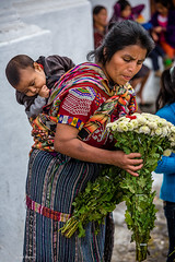 Buying flowers in Chichicastenango