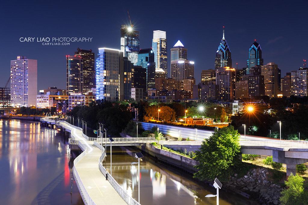 The Schuylkill Banks Boardwalk and Philadelphia skyline at dusk