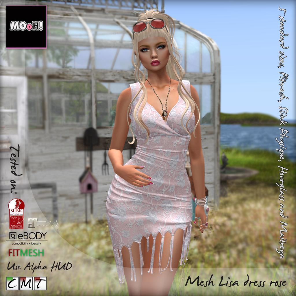 Lisa dress rose - SecondLifeHub.com