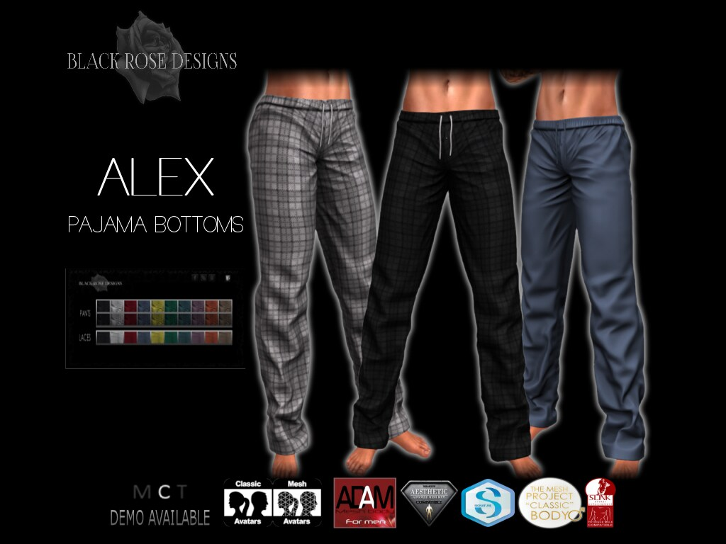 [[BR]] ALEX PAJAMA BOTTOMS - SecondLifeHub.com