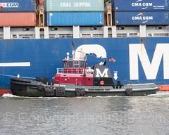 Kirby Moran Tugboat with CMA CGM Nabucco Container Vessel on Kill van Kull, Bayonne, New Jersey