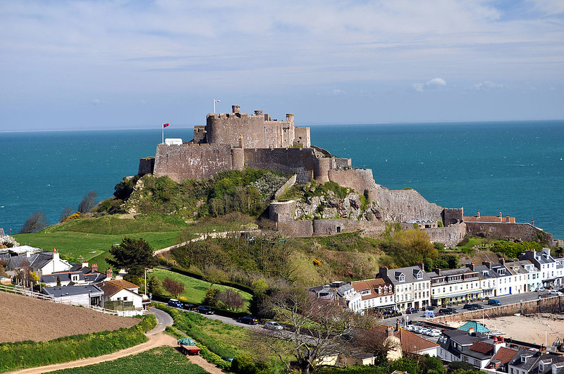 The Mont Orgueil Castle, island of Jersey in the English Channel