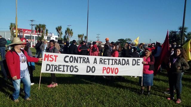 Em Porto Alegre foram realizadas mobilizações em diversos pontos da cidade - Créditos: MST-RS