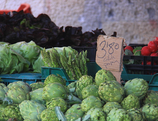 Vegetables displayed for sale at Girona Food Market
