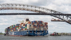 CMA CGM Nabucco Container Vessel at the Bayonne Bridge on the Kill van Kull, Staten Island NY - Bayonne NJ