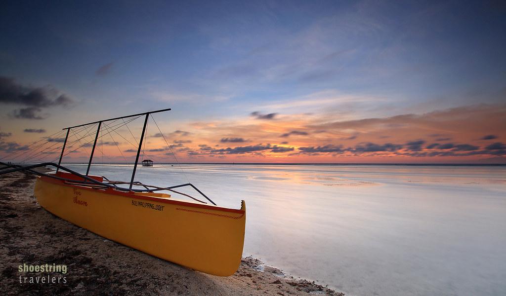 sunset at the beachfront of SCL Garden Resort, Ilog Malino, Bolinao