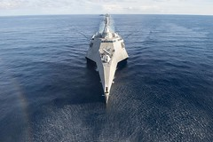 USS Coronado (LCS 4) sails during a photo exercise as part of multilateral CARAT exercise with the Republic of Singapore and Royal Thai navies, May 11. (U.S. Navy/MC3 Deven Leigh Ellis)