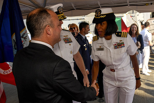 Tue, 05/16/2017 - 13:59 - 170516-N-AX546-258 VARNA, Bulgaria (May 16, 2017) - Cmdr. Janice Smith, commanding officer, USS Oscar Austin (DDG 79), welcomes aboard Mr. Eric Rubin, U.S. ambassador to Bulgaria, during a reception, May 16, 2017. Oscar Austin, an Arleigh Burke-class guided-missile destroyer, is on a routine deployment supporting U.S. national security interests in Europe, and increasing theater security cooperation and forward naval presence in the U.S. 6th Fleet area of operations. (U.S. Navy photo by Mass Communication Specialist 1st Class Sean Spratt / Released)