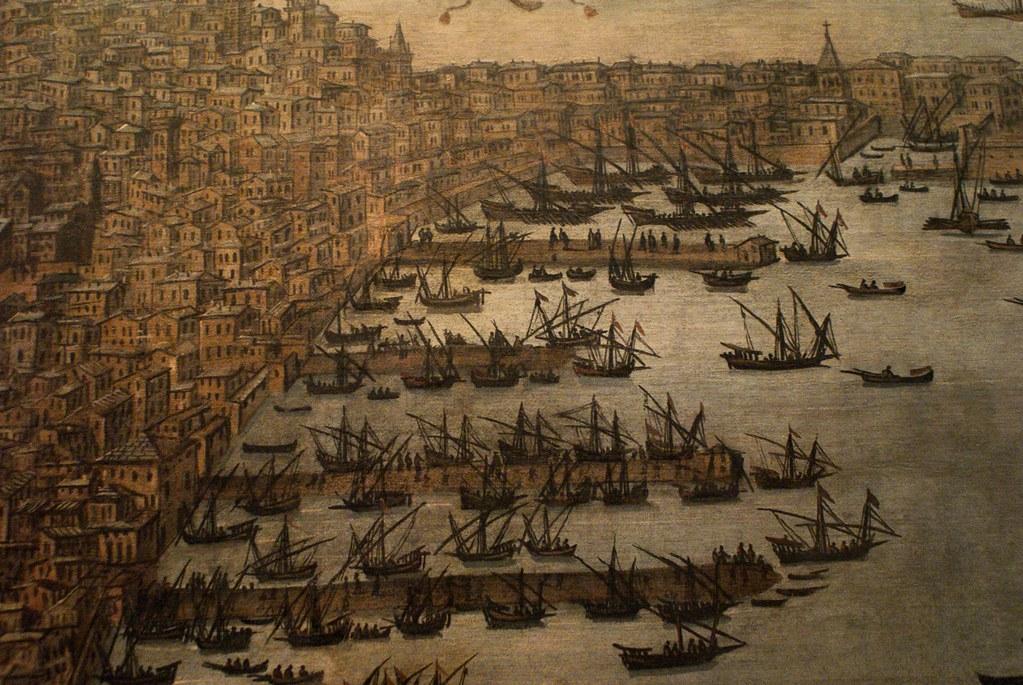 Vue sur le port et sur l'habitation dense de Gênes vers 1600.