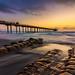 La Jolla sunset with a high tide by binzhongli