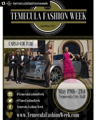 Join us on May 19th, 20th, 21st for Cars and Couture at Temecula City Hall! Wine, entertainment, and photo opportunities!  . For tickets: www.temeculafashionweek.com