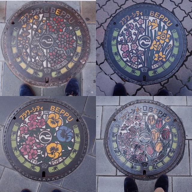 Photo:大分県別府市 #manhole フラワーシティBeppu バージョン 1月(ロウバイ・キンセンカ) 2月(ウメ・スイセン) 3月(モモ・パンジー) 4月(サクラ・チューリップ) #nincolle By tadayoshi527