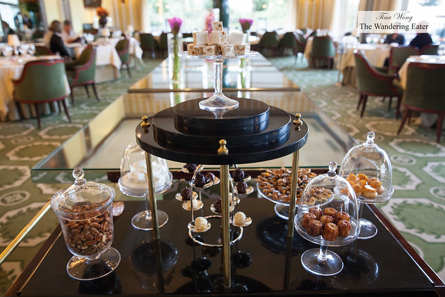 Petit fours cart in the middle of the restaurant