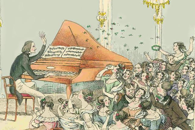 Liszt in concert, 1842 by Theodor Hosemann