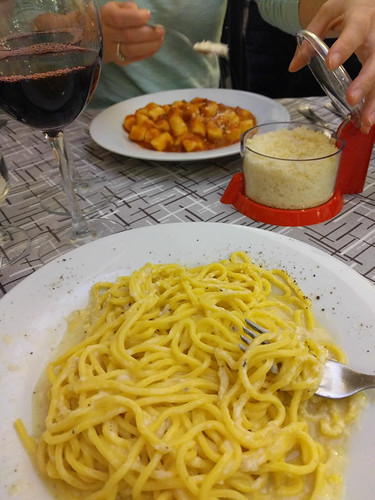 tonnarelli cacio e pepe (bottom) and gnocchi bolognese (top)