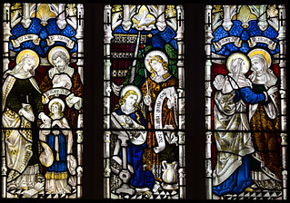 St Anne and St Joachim with the Blessed Virgin, Blessed Virgin and St Gabriel at the Annunciation, Blessed Virgin and St Elizabeth at the Visitation (AK Nicholson)