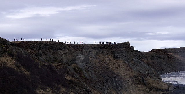 Iceland-People looking at Gullfoss Waterfall, 5-3-2017