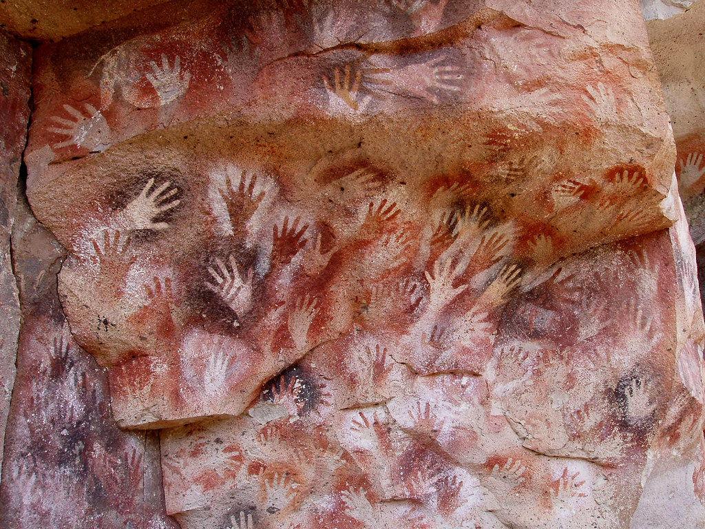 Hands at the Cuevas de las Manos upon Río Pinturas, near the town of Perito Moreno in Santa Cruz Province, Argentina. Credit Mariano