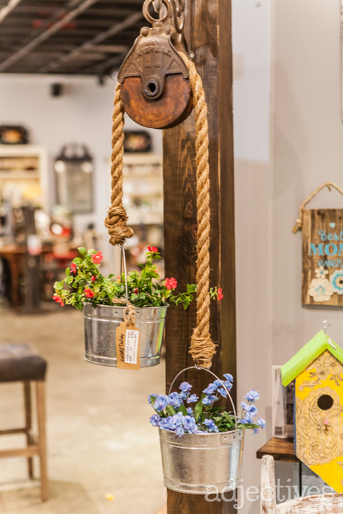 Handmade pulley garden planter at Adjectives Altamonte by Wood Wine and Whimsy