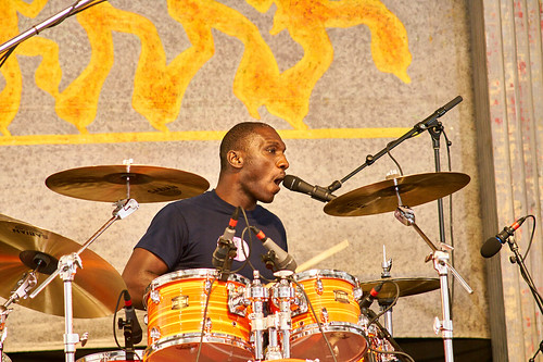 Cedric Burnside Project in the Blues Tent on Day 4 of Jazz Fest 2017 - May 4. Photo by Eli Mergel.