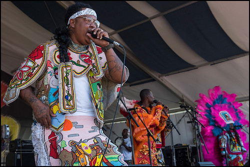 76rs Gang Mardi Gras Indians during Jazz Fest Day 5 on May 5, 2017. Photo by Ryan Hodgson-Rigsbee www.rhrphoto.com
