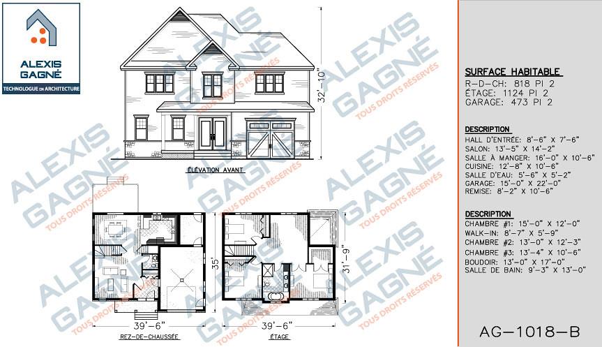 plan de maison 2 étages sans garage
